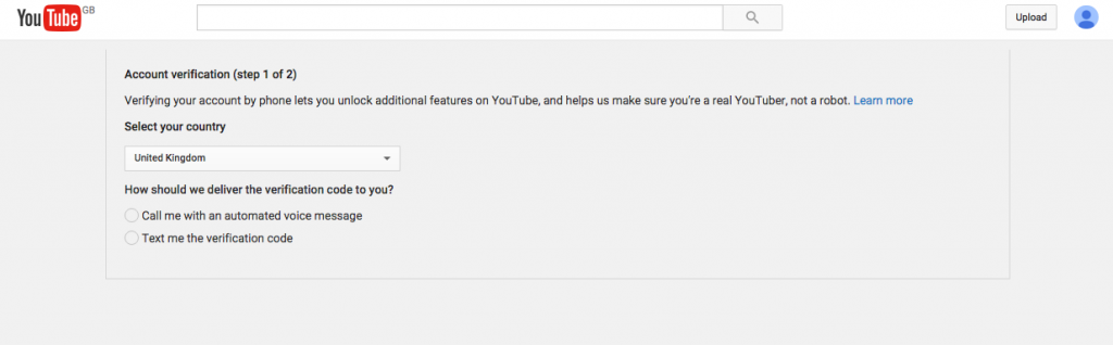 Verify Youtube account step 2