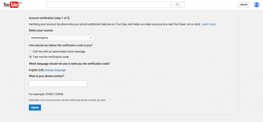 Verify Youtube account step 3